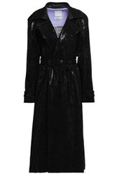 Each X Other Woman Belted Sequined Woven Coat Black