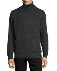 Vince Chunky Wool Cashmere Blend Turtleneck Sweater Dark Gray
