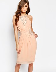 Tfnc Midi Dress With Wrap Front And Lace Detail Nude