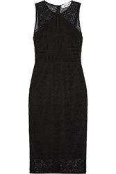 Diane Von Furstenberg Paneled Lace Midi Dress Black