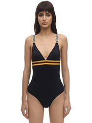 Stella Mccartney Sporty Econyl Swimsuit W Logo Straps Navy