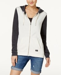 Volcom Juniors' Lived In Colorblocked Hoodie White Gey Combo