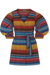 House Of Holland Belted Striped Woven Mini Dress Blue