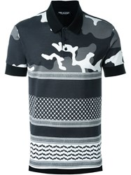 Neil Barrett Camouflage And Geometric Pattern Polo Shirt Black