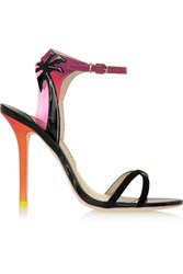 Sophia Webster Malibu Sunset Vinyl Trimmed Patent Leather Suede And Satin Sandals Black