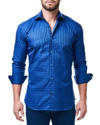 Maceoo Luxor Long Sleeve Check Print Shirt Blue