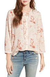 Hinge Women's Ruffle Top Ivory Shell Floral Paper