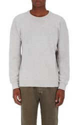 The Elder Statesman Men's Checkered Logo Intarsia Cashmere Sweater Light Grey
