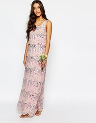 Maya Chiffon Maxi Dress With Embellishment Pink