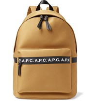 A.P.C. Savile Logo Trimmed Tech Canvas Backpack Brown