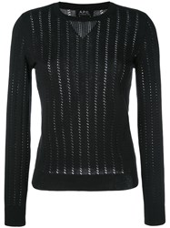 A.P.C. 'Annabelle' Pointelle Knit Sweater Black