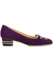 Charlotte Olympia 'Kitty 35' Loafers Pink And Purple