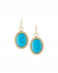 Jude Frances 18K Oval Turquoise And Diamond Earring Charms