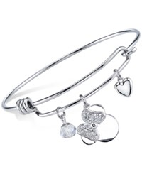 Disney 'I Love Minnie' Crystal Charm Bangle Bracelet In Sterling Silver Plating And Stainless Steel