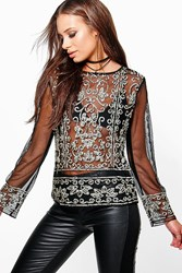 Boohoo Leah Sequin Mesh Long Sleeve Top Black