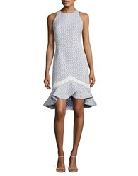 Shoshanna Textured Tulip Hem Dress Iris White
