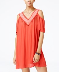 As U Wish Juniors' Cold Shoulder Shift Dress Bright Coral