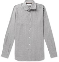 Loro Piana Slim Fit Prince Of Wales Checked Brushed Cotton Shirt Gray