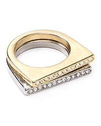 Aqua Sofie Pave Bar Rings Set Of 2 Gold Silver