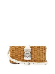 Miu Miu Leather Trimmed Woven Bag White Multi