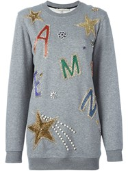 Amen Embellished Oversized Sweatshirt Grey