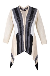 Samya Plus Size Waterfall Open Knit Cardigan Cream