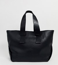 Mango Oversized Faux Leather Shopper In Black