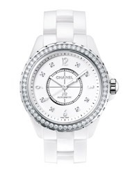 Chanel J12 White 38Mm Ceramic Watch With Diamonds