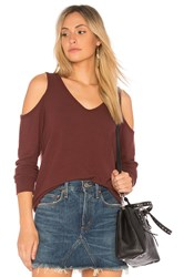 Michael Stars Cold Shoulder Sweatshirt Red