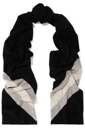 Madeleine Thompson Gunther Striped Wool And Cashmere Blend Scarf Black