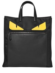 Fendi Monster Smooth Leather And Nylon Tote Bag Black Yellow