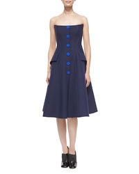 Derek Lam Strapless Button Front Dress Navy