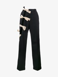Jacquemus Cutout Embellished Wool Pinstripe Trousers Navy White Cream