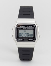 Casio Digital Silicone Strap Watch In Black Silver F91wm 7A Black