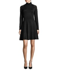 Eliza J Lace Shoulder Turtleneck Dress Black