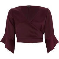 River Island Dark Red Satin Wrap Frill Sleeve Crop Top