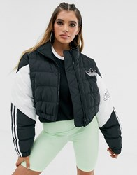 Adidas Originals Cropped Puffer Jacket In Black