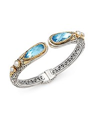 Konstantino Amphitrite 3Mm 4Mm White Freshwater Pearl Blue Topaz 18K Gold And Sterling Silver Etched Bracelet