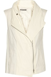 Vince Leather Trimmed Linen And Cotton Blend Vest White