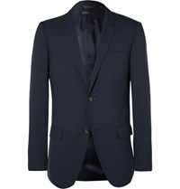 Calvin Klein Collection Navy Hudson Slim Fit Silk Seersucker Blazer Blue