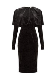 Sara Battaglia Caped Crushed Velvet Dress Black