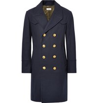 Coach Double Breasted Melton Wool Blend Coat Navy