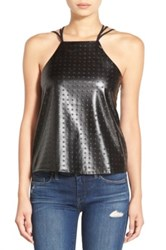 Whitney Eve 'Thal' Strappy Faux Leather Tank Juniors Black