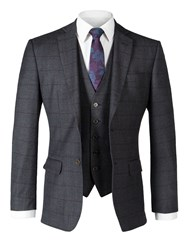 Alexandre Of England Men's Ropley Charcoal Check Tailored Jacket Charcoal