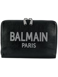 Balmain Oversized Branded Clutch Black