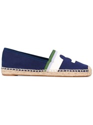 Tory Burch Logo Espadrilles Women Cotton Straw Rubber 5 Blue