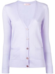 Tory Burch V Neck Button Cardigan Purple