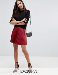 Missguided Pleated Mini Skirt Burgundy Red