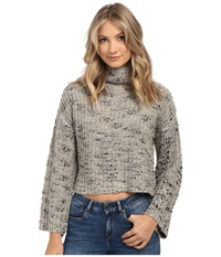 Obey Alexa Cropped Funnelneck Sweater Grey Women's Sweater Gray