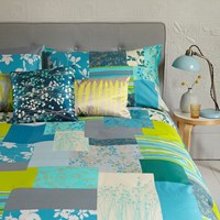 Clarissa Hulse Patchwork Aqua Duvet Cover Super King